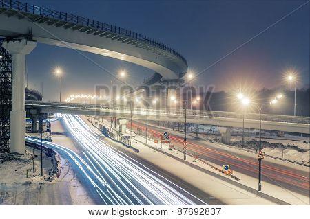 transport metropolis, traffic and blurry lights