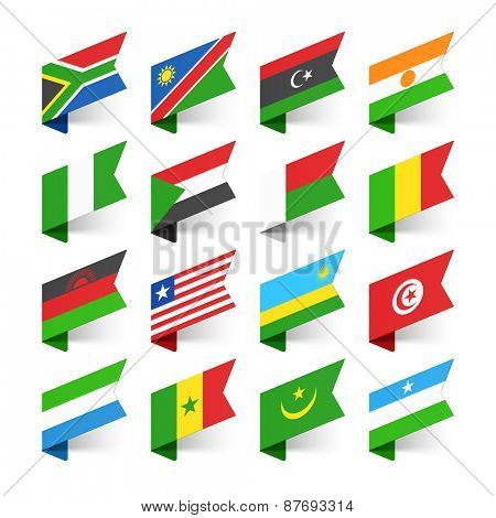 Flags of the World, Africa, set 2 vector illustration