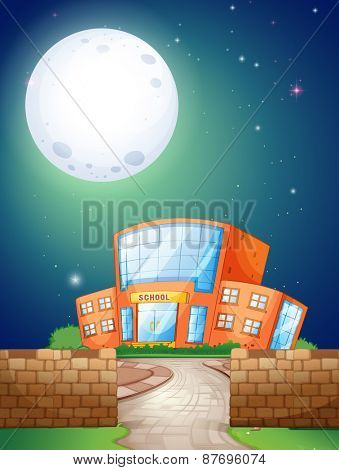 School scene at night with fullmoon