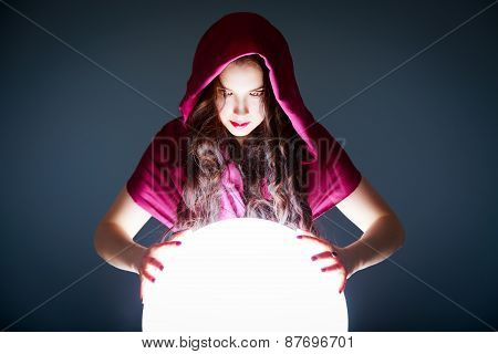 Fortune Teller Looking in a Magic Crystal Ball