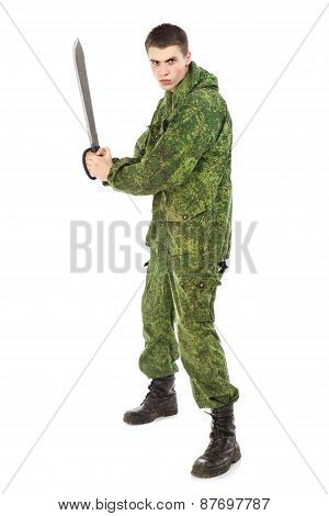 Military Man With Knife