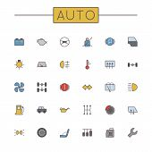 Thirty Colored Auto Line Icons, including different car signs and symbols, isolated on white background poster