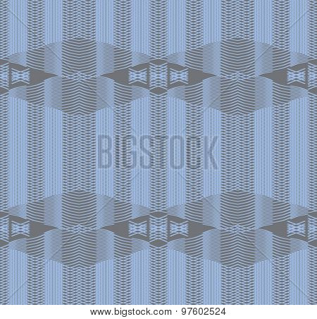Seamless Print Of Gently Curving Lines In Gray And Blue Colors