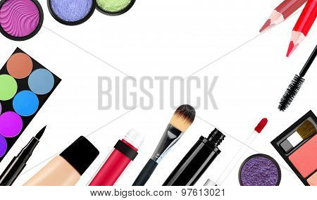 makeup brush and cosmetics on a white background isolated with clipping path poster