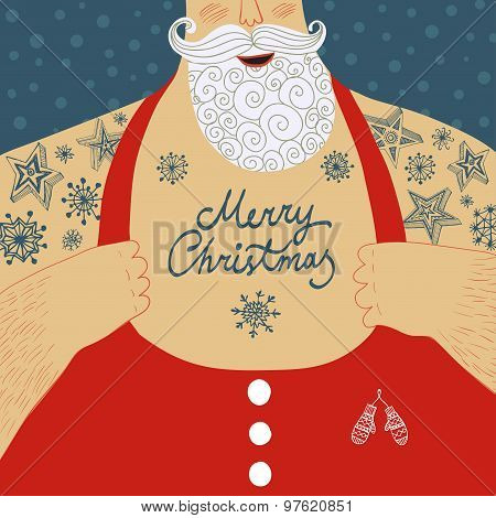 Vector Cartoon Illustration Of Mighty Santa Claus Chest