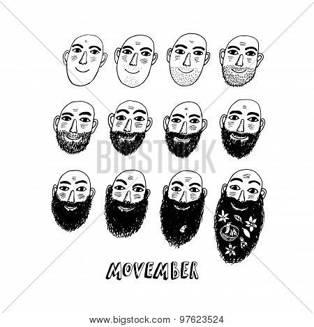 No Shave November Or Movember Illustration