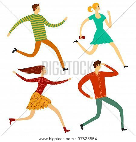 Running People Illustration Set