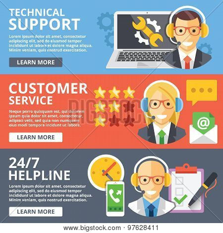 Technical support, customer service, 24/7 helpline flat illustration concepts set