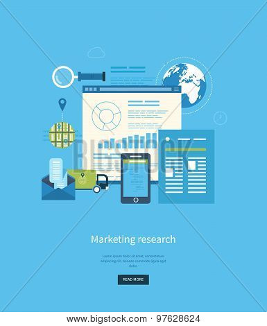Flat design illustration concepts for business analytics and planning, consulting, programming, project management, market research and development. Web site analytics charts. poster