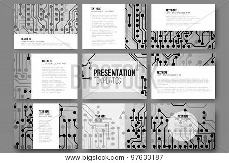 Set of 9 vector templates for presentation slides. Abstract microchip background, scientific electronic design, vector illustration. poster