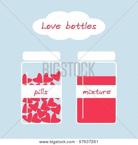 Cute love bottles in retro style with pills and mixture.