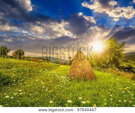 Field With Haystacks On Hillside At Sunset