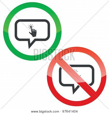 Touch message permission signs