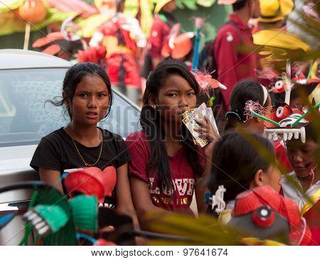 Children Prepare For Performing In Sihanoukville Annual Carnival