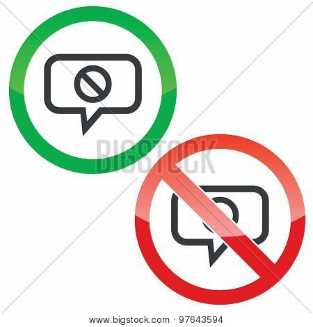NO message permission signs
