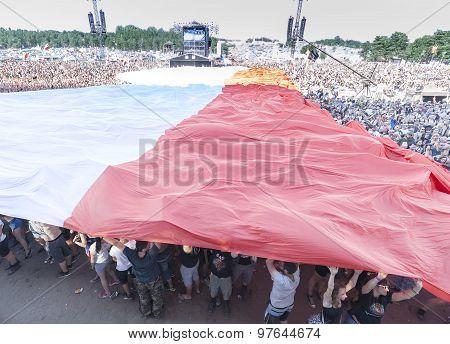 Polish Flag Spread With Audience.