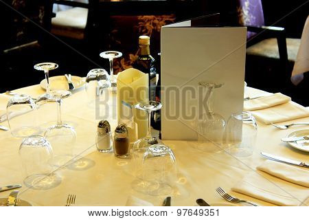 a Luxurious restaurant interior with set tables