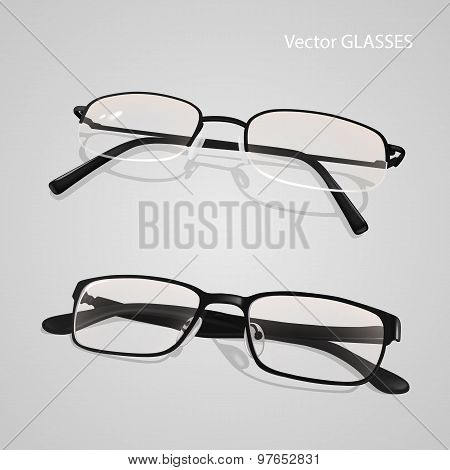 Realistic Metal, Plastic Framed Glasses Set.  Glasses Isolated On Gray Background