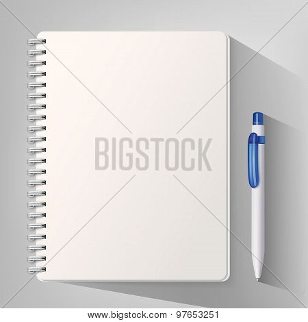 Notebook With White Ballpoint Pen. Vector Illustration