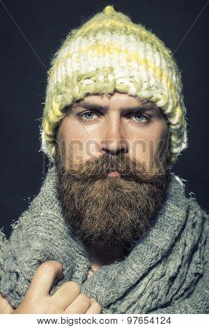 Portrait Of Unsocial Homeless Man