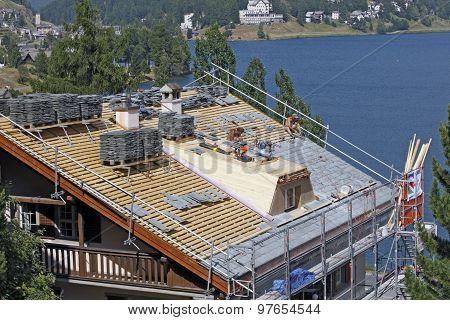 Switzerland - Sankt Moritz - reconstruction of roofing