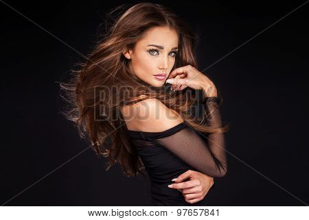 Portrait Of Sexy Woman With Long Hair.