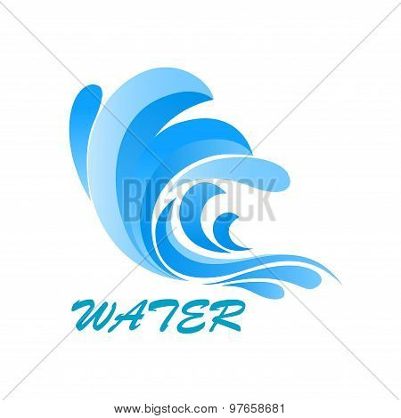 Wave symbol with flowing and curving water