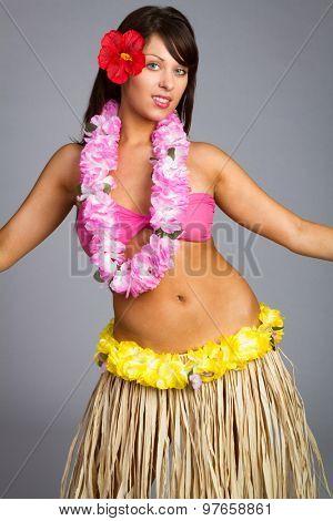 Beautiful hawaiian hula dancer girl poster
