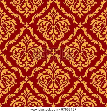 Damask seamless pattern with orange and red colors