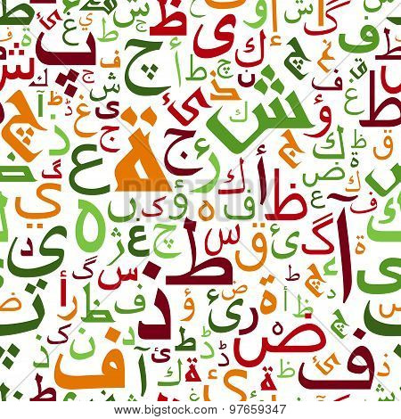 Seamless colorful arabic alphabet pattern