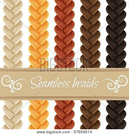 Hair braided isolated on white. Seamless three strand french bra