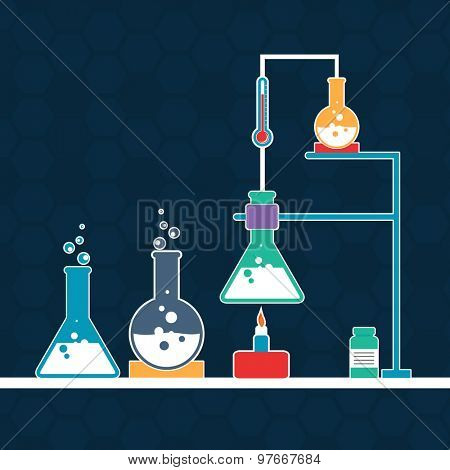 Lab experiment objects consist of beaker and flasks with chemical on stylish blue background.