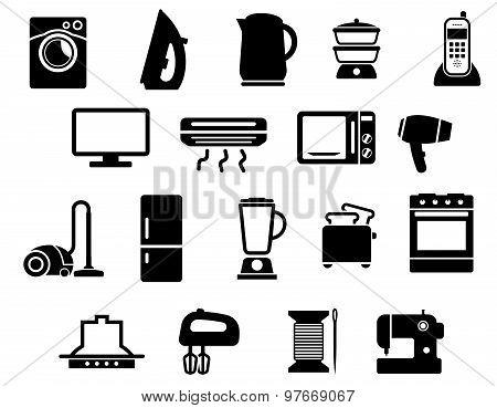 Home appliances black icons set