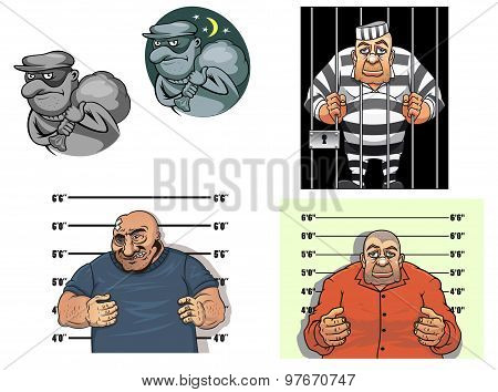 Cartoon thief, robber, gangster and prisoner