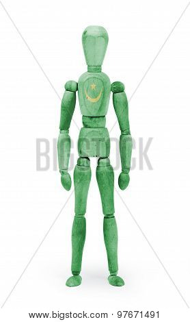 Wood Figure Mannequin With Flag Bodypaint - Mauritania