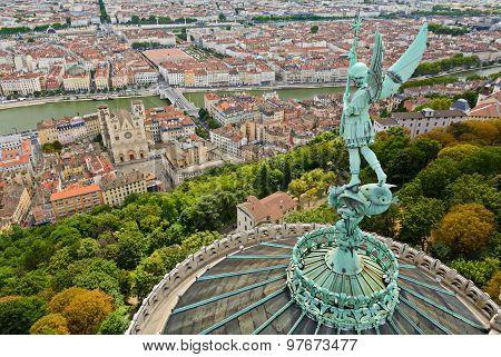 Statue Of Saint Michel Above Fourviere Basilica, Lyon, France