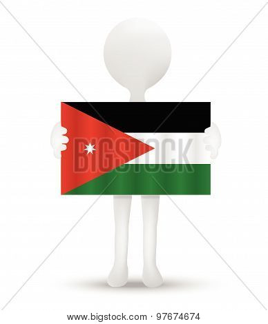small 3d man holding a flag of Hashemite Kingdom of Jordan. poster