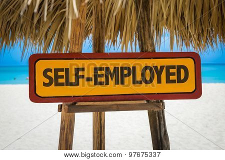 Self-Employed sign with beach background