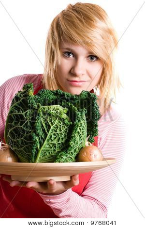 Woman With Fresh Savoy Cabbage And Onions