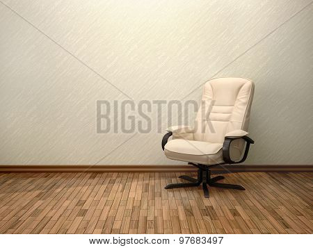 3D Illustration Of Beige Office Chair In The Interior