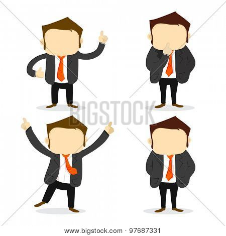 Happy Young business Character in different pose on white background.