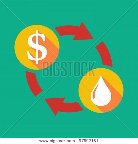 Exchange Sign With A Dollar Sign And A Fuel Drop