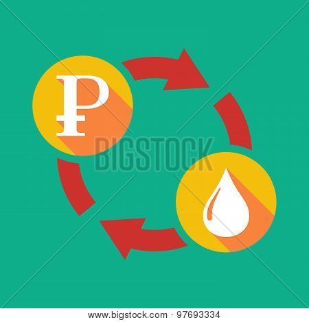 Exchange Sign With A Ruble Sign And A Fuel Drop