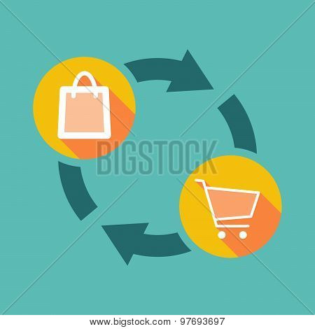 Exchange Sign With A Shopping Bag And A Shopping Cart