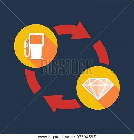 Exchange Sign With A Gas Pump And A Diamond
