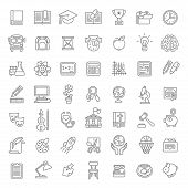 Set of modern flat line art vector icons of school subjects, activities, education and science symbols for website, mobile or computer apps, infographics, presentation, promotion poster