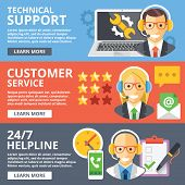 Technical support, customer service, 24/7 helpline flat illustration concepts set. Modern flat design concepts for web banners, web sites, printed materials, infographics. Trendy vector illustrations poster