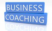 Business Coaching - 3d render blue box with text on it on white background with reflection poster