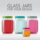 realistic template of glass jars. Bank juice, jam, liquids. Isolated objects for your product design. poster