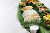 meals served on banana leaf, traditional south indian cuisine poster